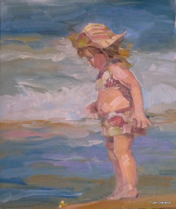 """The Little Beachcomber"" original fine art by Jeri Ireland"