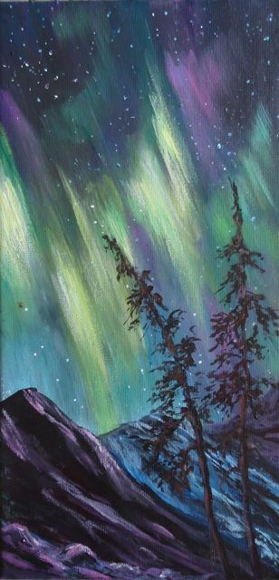 """Starry Yukon Night"" original fine art by Jackie Irvine"