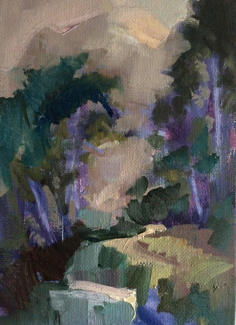 """Nightfall, River Track"" original fine art by Anne Wood"