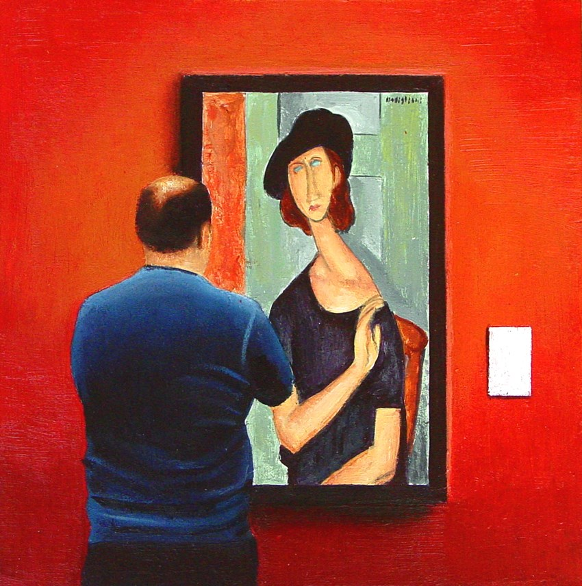 """Au Chapeau- Man Looking At Portrait Of Jeanne Hebuterne By Amedeo Modigliani"" original fine art by Gerard Boersma"