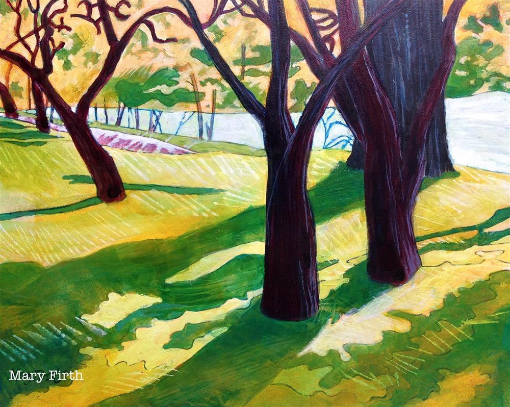 """""""green shadows"""" original fine art by Mary Firth"""
