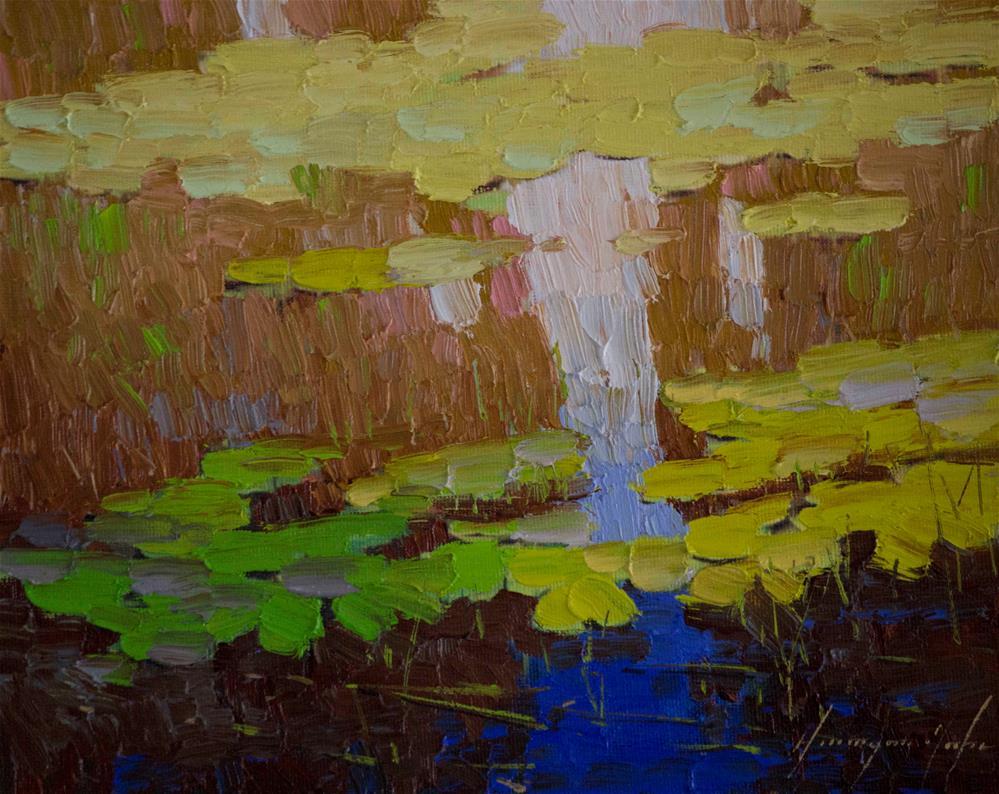 """Water Lilies Autumn Colors Impressionism"" original fine art by V Y"