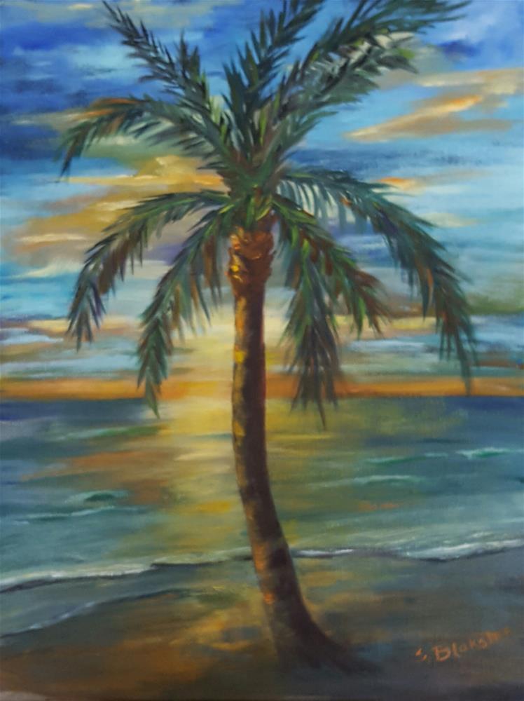 """Sunset Palm"" original fine art by Sissy Blakslee"