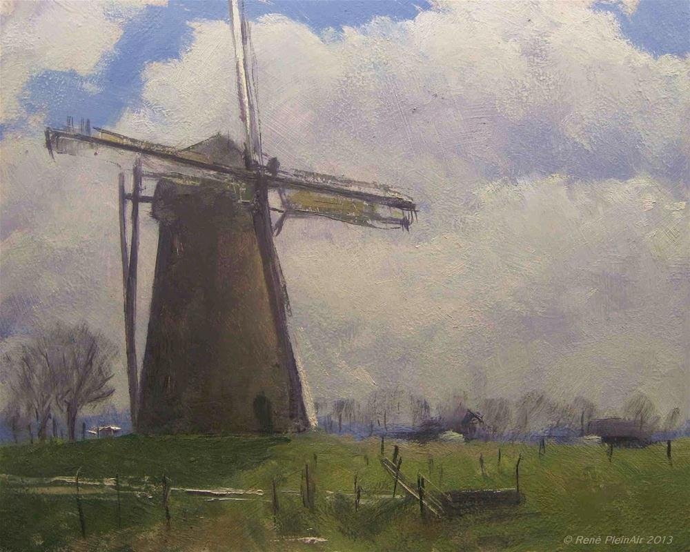 """Braamtse Windmill. Braamt, Holland."" original fine art by René PleinAir"