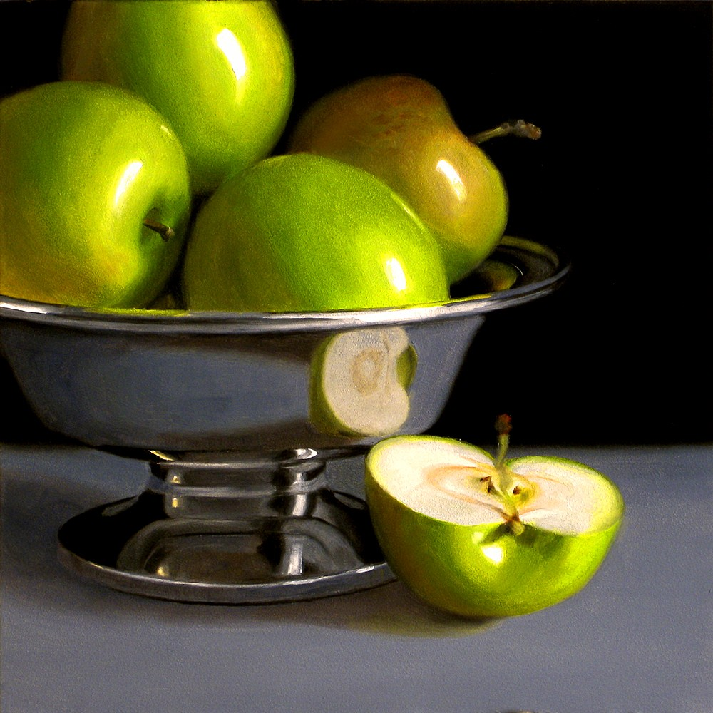 """Green Apples in Silver Bowl"" original fine art by Nance Danforth"
