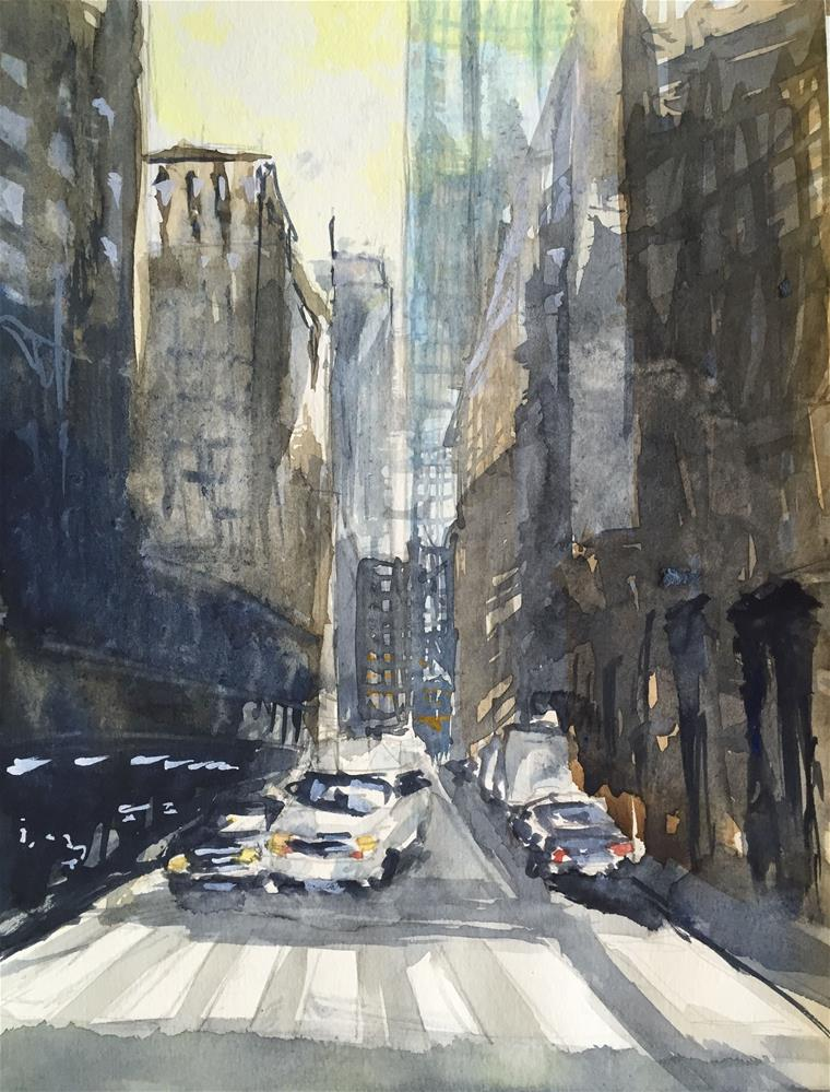 """A MANHATTAN STREET NYC"" original fine art by Ferran Llagostera"