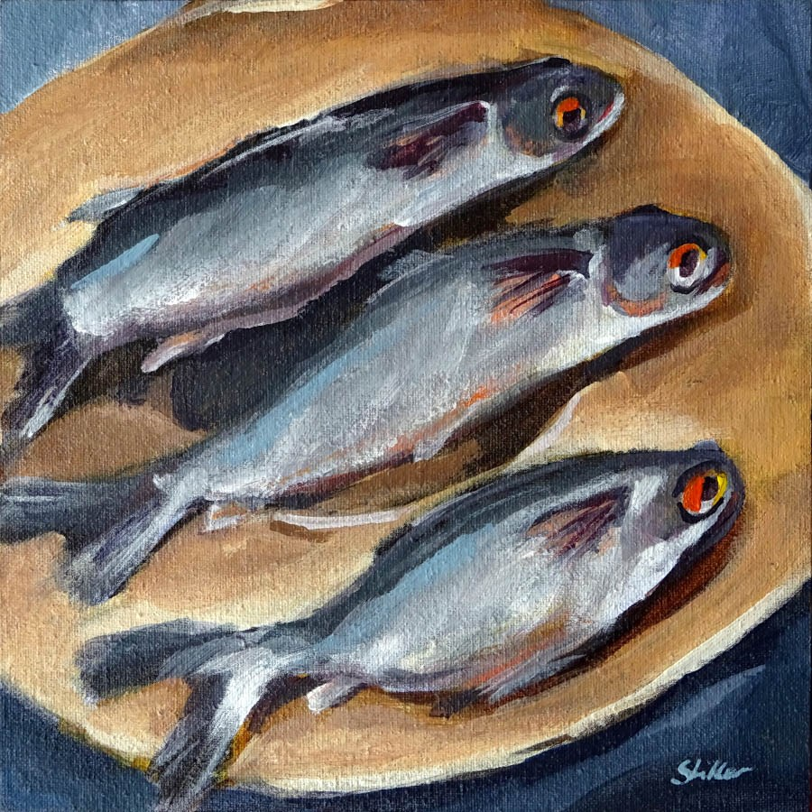 """1806 Three Sardines"" original fine art by Dietmar Stiller"