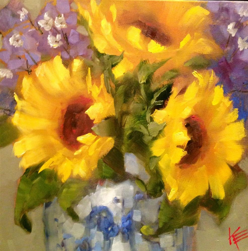 """Sunflowers in Japanese  vase"" original fine art by Krista Eaton"