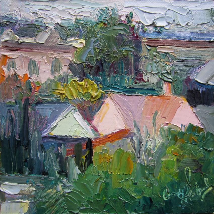 """Pastel Roofs"" original fine art by Carol Steinberg"