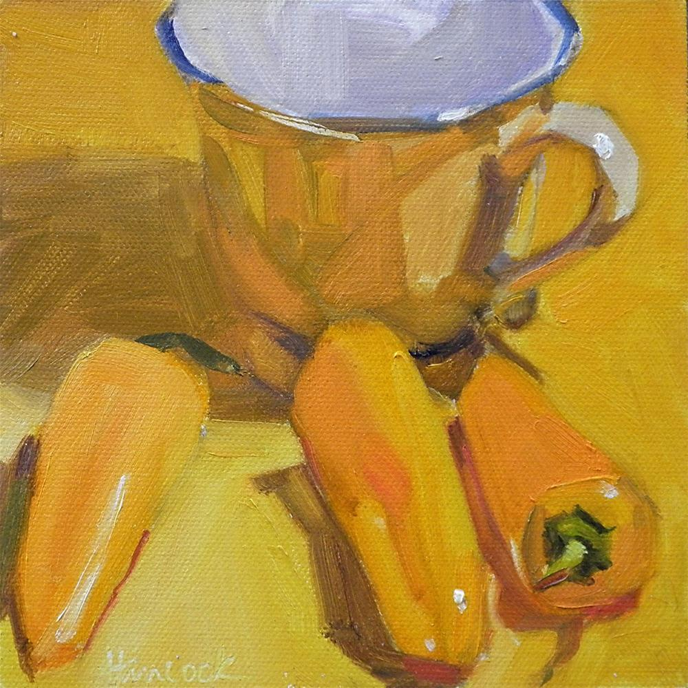 """Yellow Cup and Yellow Peppers"" original fine art by Gretchen Hancock"