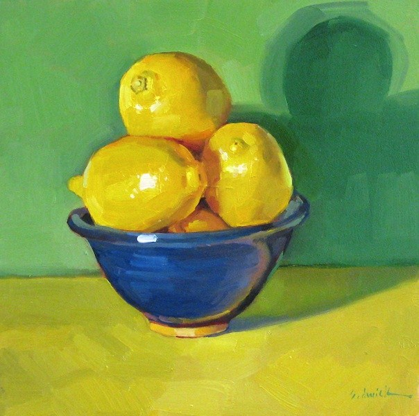 """Blue + Yellow = Green still life fruit lemons oil painting colorful"" original fine art by Sarah Sedwick"
