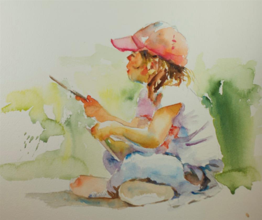 """""""writing a list"""" original fine art by Sue Churchgrant"""