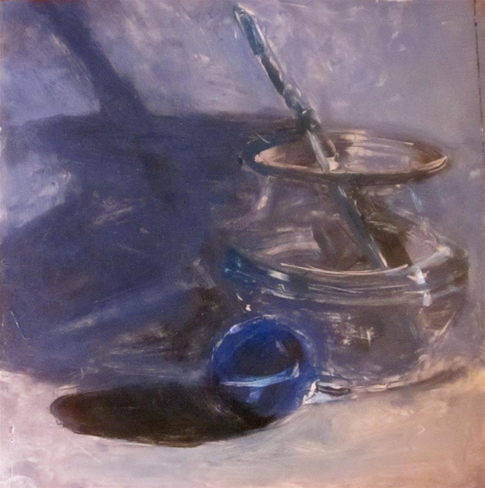 """Blue Marble, Glass and Shadow"" original fine art by Carol Wiley"