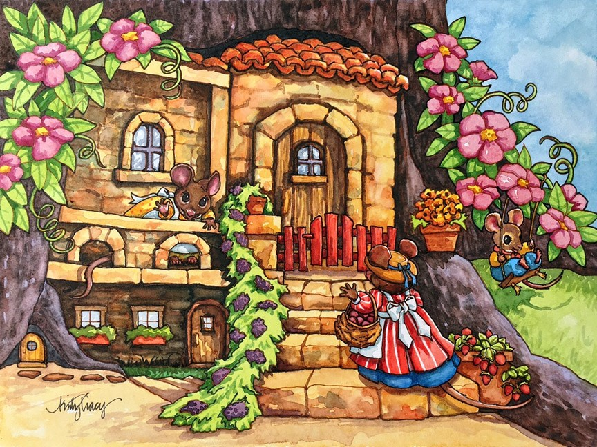 """MOUSE HOUSE"" original fine art by Kristy Tracy"