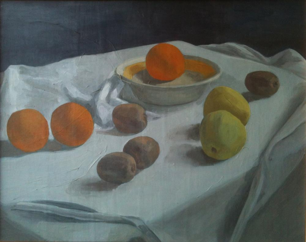 """Still Life in Orange and Blue"" original fine art by Megan Schembre"