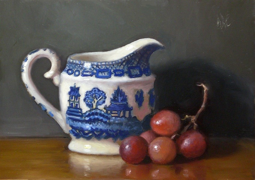 """Little Blue Pitcher and Grapes"" original fine art by Debra Becks Cooper"