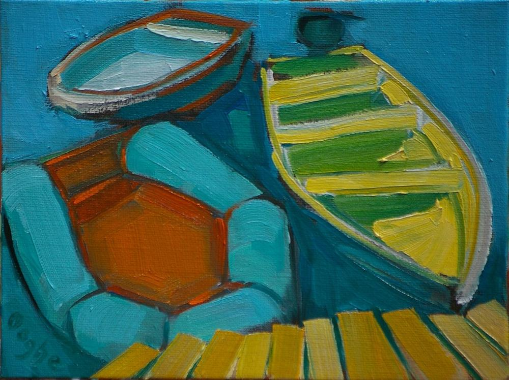 """Three Dinghies"" original fine art by Angela Ooghe"