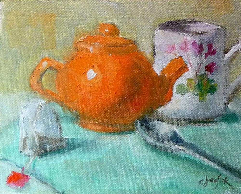 """Moment for Tea #2"" original fine art by Carol Josefiak"
