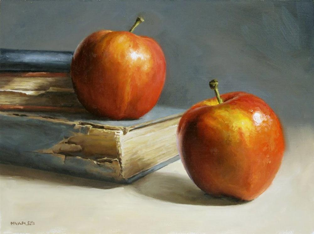 """Apples with Books"" original fine art by Michael Naples"