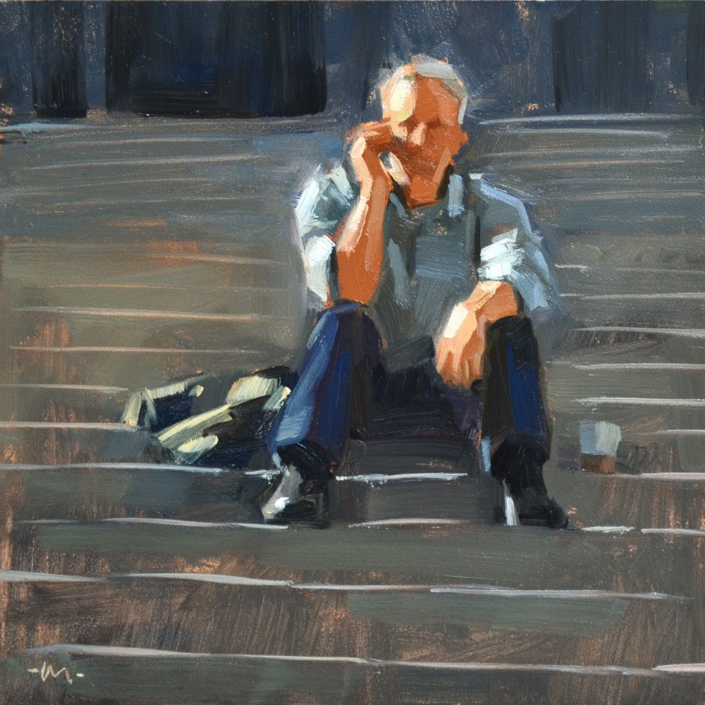 """Chatting on the Steps"" original fine art by Carol Marine"