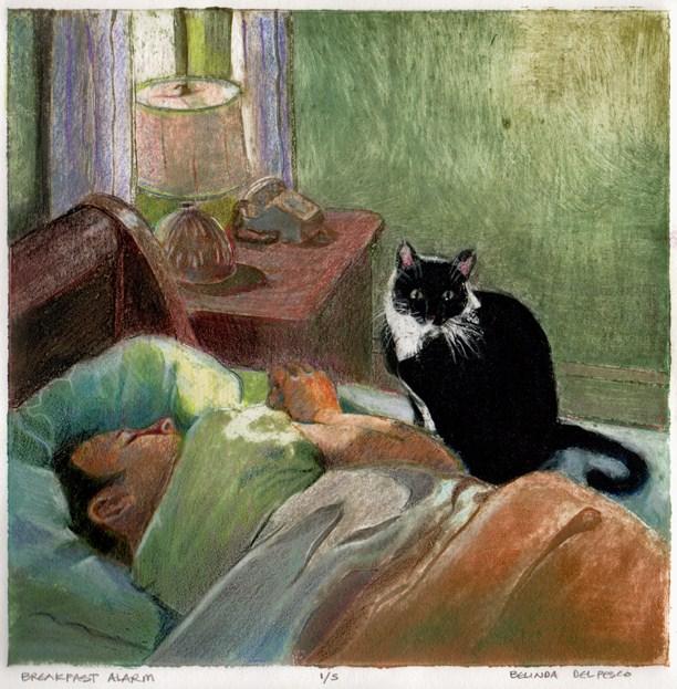 """Collagraph: Breakfast Alarm"" original fine art by Belinda Del Pesco"