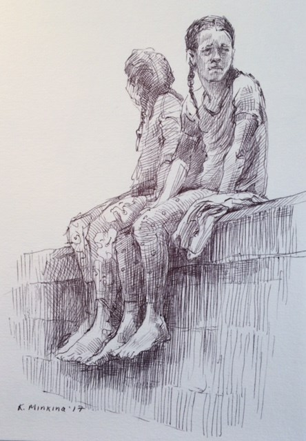 """hanasketching23"" original fine art by Katya Minkina"