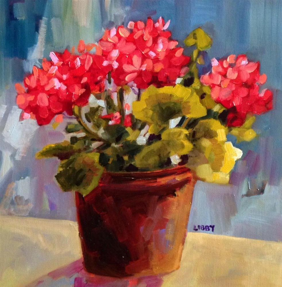 """July Geraniums"" original fine art by Libby Anderson"