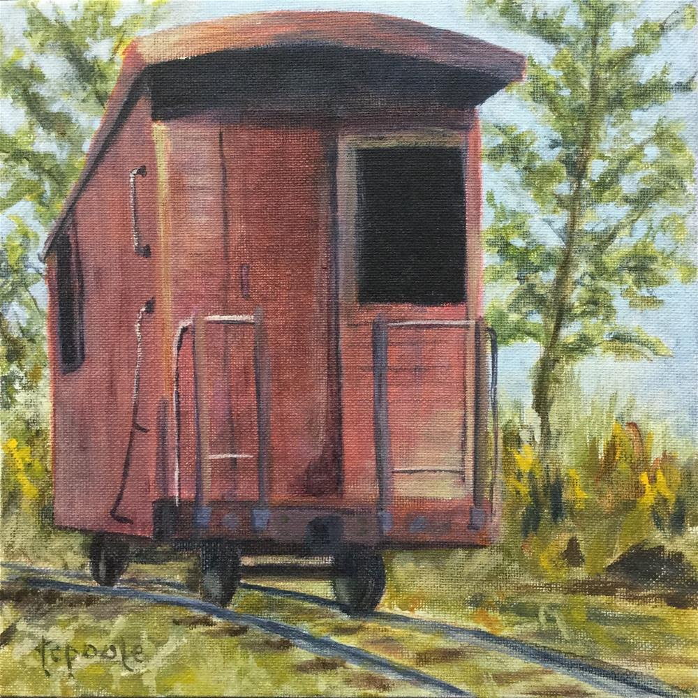 """Little Red Caboose"" original fine art by T.C. Poole"