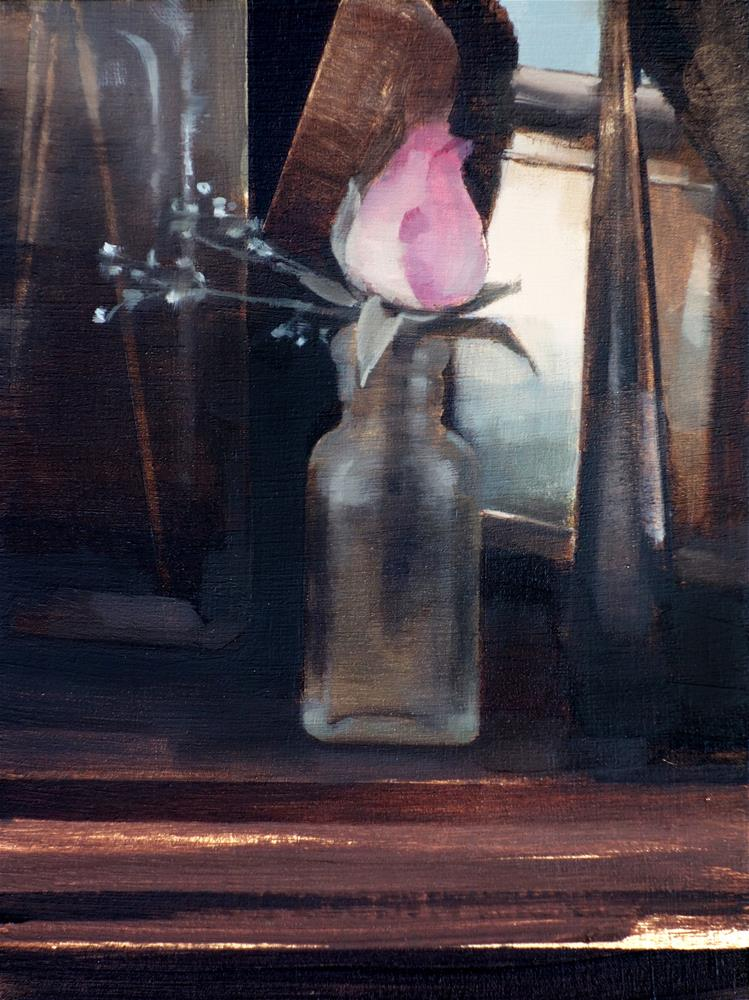 """Small Rose in Antique Bottle (no.130)"" original fine art by Michael William"