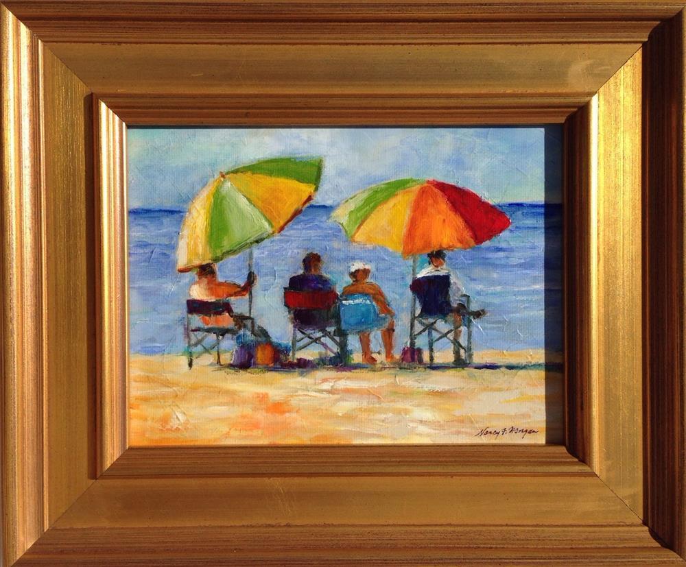 """Beach Couples"" original fine art by Nancy F. Morgan"