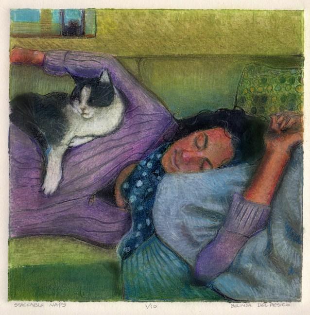 """Collagraph: Stackable Naps"" original fine art by Belinda Del Pesco"