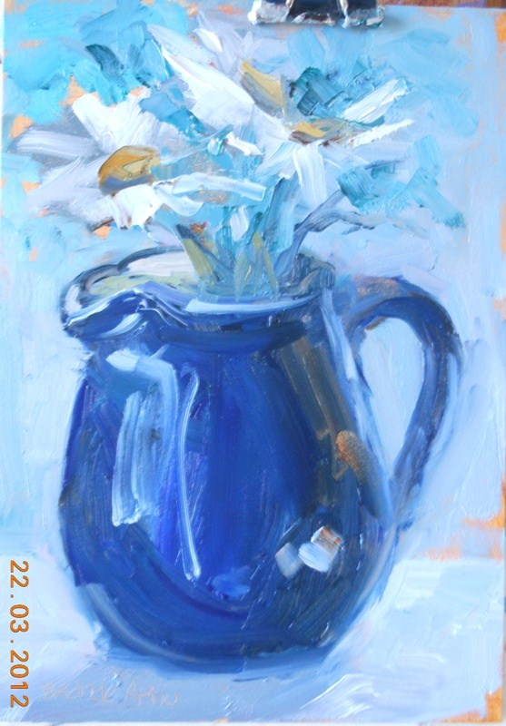 """Daisies in Blue"" original fine art by Brande Arno"