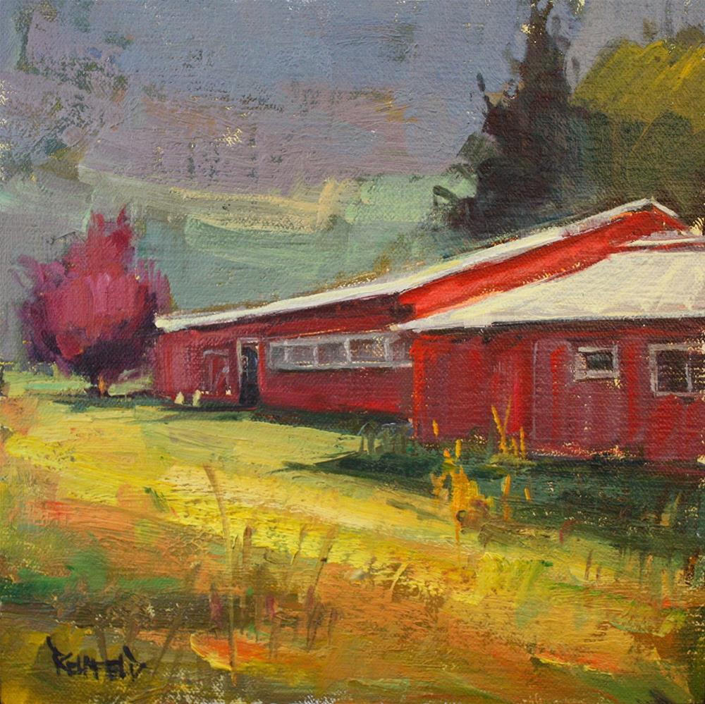"""Northwest Red Barns"" original fine art by Cathleen Rehfeld"