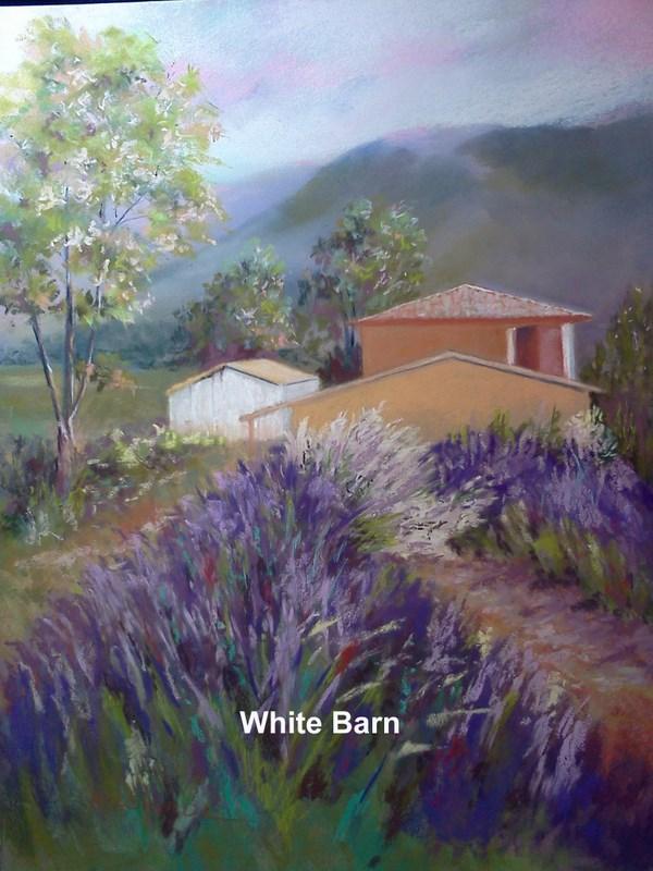 """White Barn"" original fine art by Norm Rossignol"