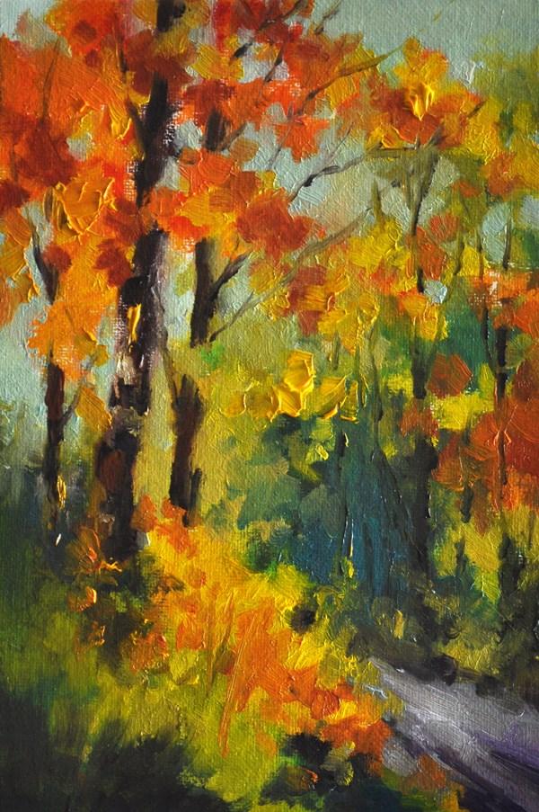 """Autumn Forest 5x7 In"" original fine art by Stefan Peters"