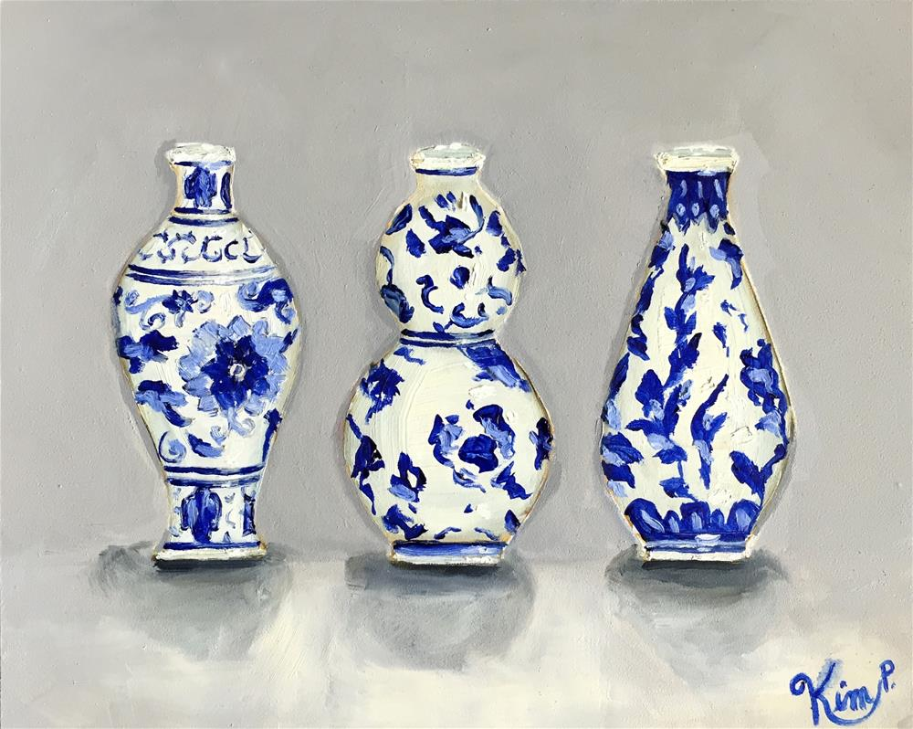 """Three Little Blue and White Chinoserie Mini Vases"" original fine art by Kim Peterson"
