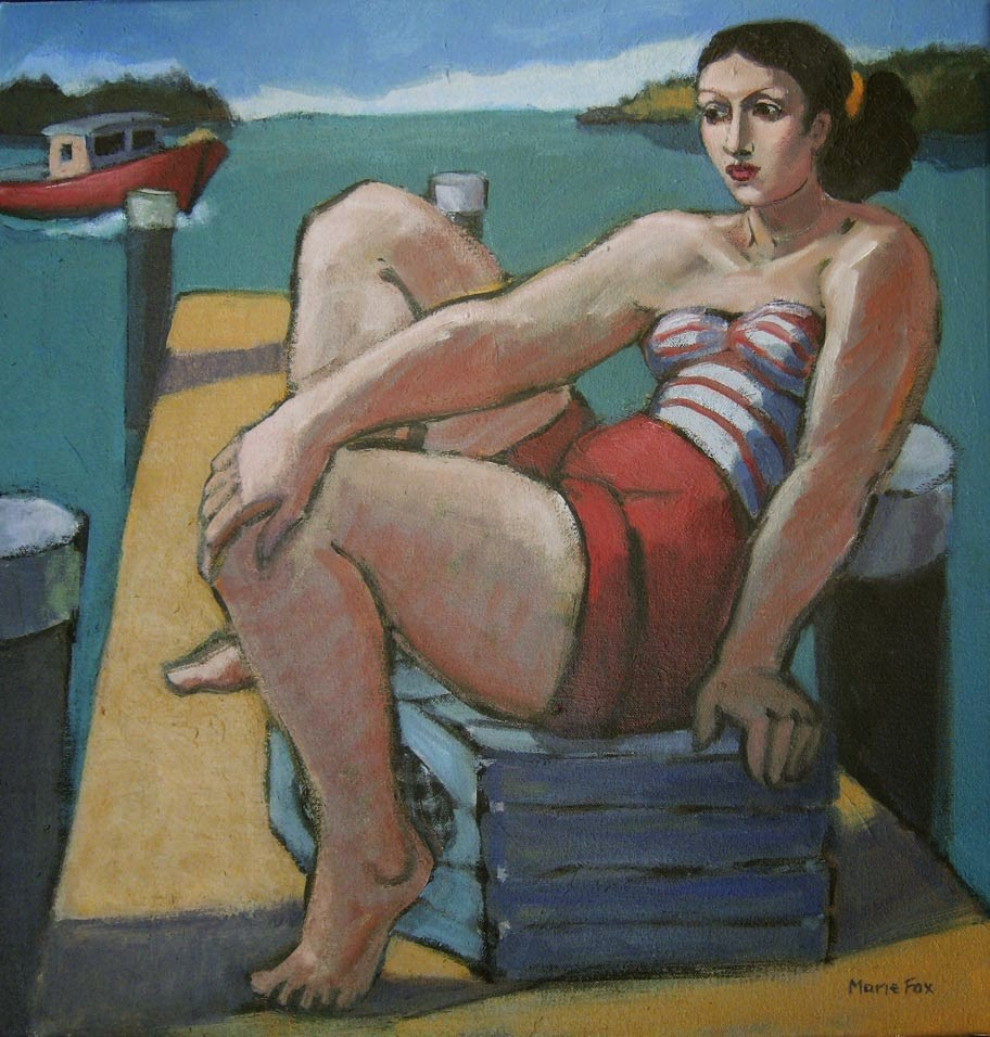 """Maine Afternoon, woman on dock by ocean, lobster pot, lobster boat, fishing pier, contemporary figur"" original fine art by Marie Fox"