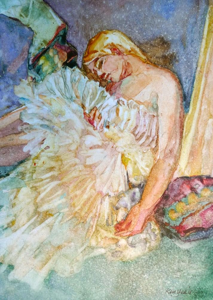 """""""'Colombine' sleeping 1"""" original fine art by Myriam Kin-Yee"""