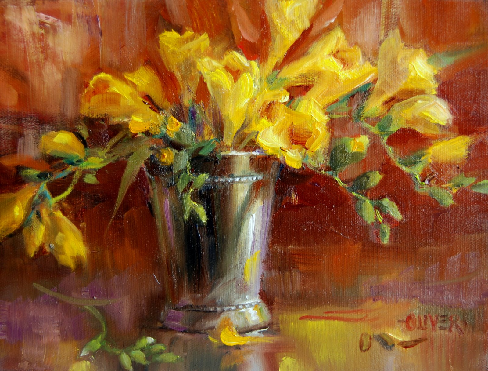 """Freesia Delight"" original fine art by Julie Ford Oliver"