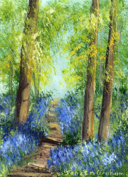 """Bluebell Trail 2 ACEO"" original fine art by Janet Graham"