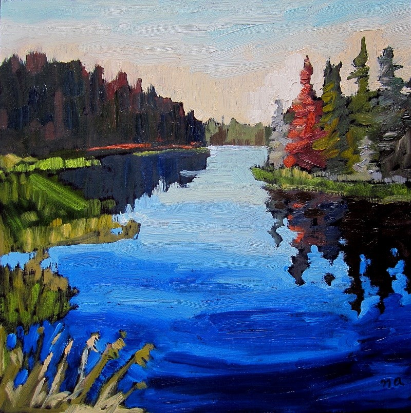 """Waskesiu River In August"" original fine art by Nicki Ault"