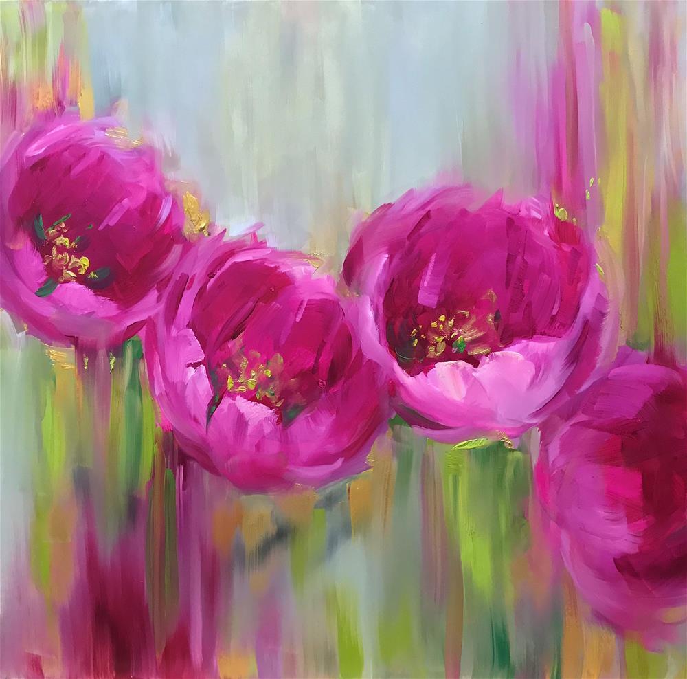 """When Disney Calls - Given Time Pink Tulips"" original fine art by Nancy Medina"