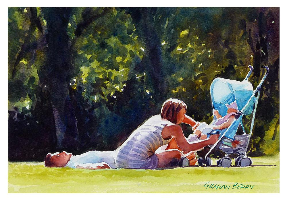 """Lazing in the park."" original fine art by Graham Berry"