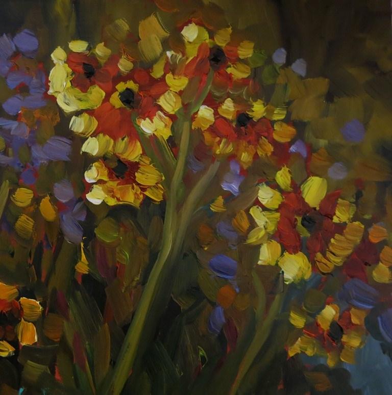 """""""#15-1 WILDFLOWERS IN PURPLE"""" original fine art by Dee Sanchez"""