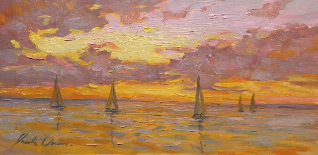 """Five Sails at Sunset Framed - Free shipping."" original fine art by Justin Clements"