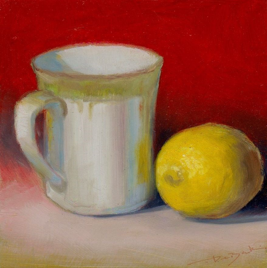 """lemon for tea"" original fine art by V. DeBak"