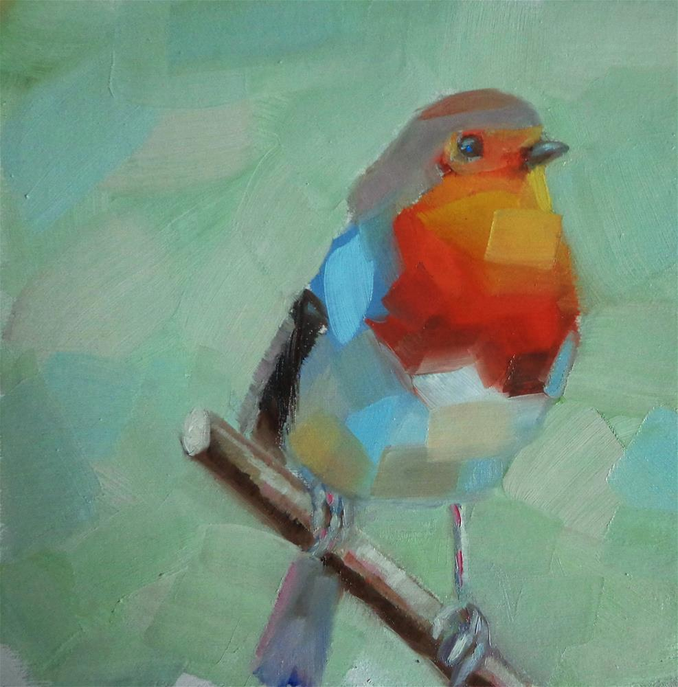 """""""Red-breasted robin"""" original fine art by Maria Z."""