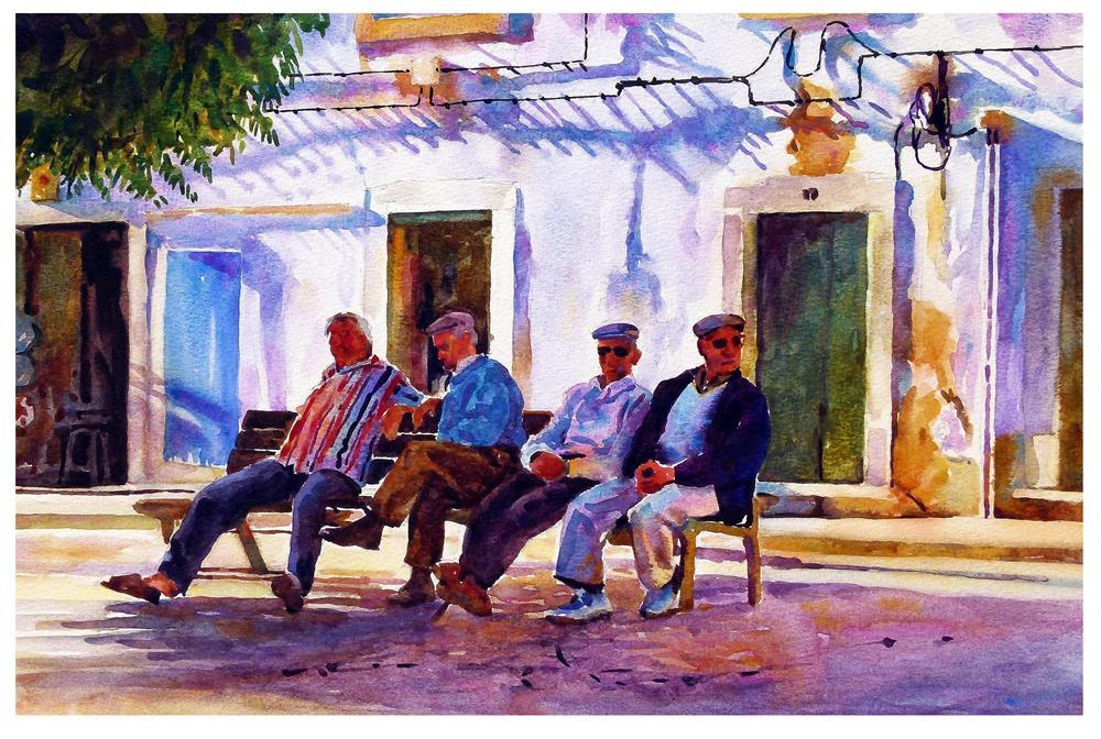 """Asleep on the bench."" original fine art by Graham Berry"