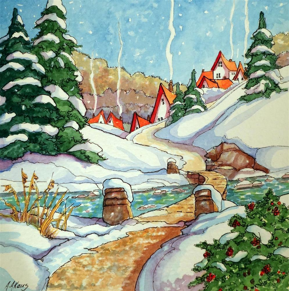 """""""Home's Just Over the Bridge Storybook Cottage Series"""" original fine art by Alida Akers"""