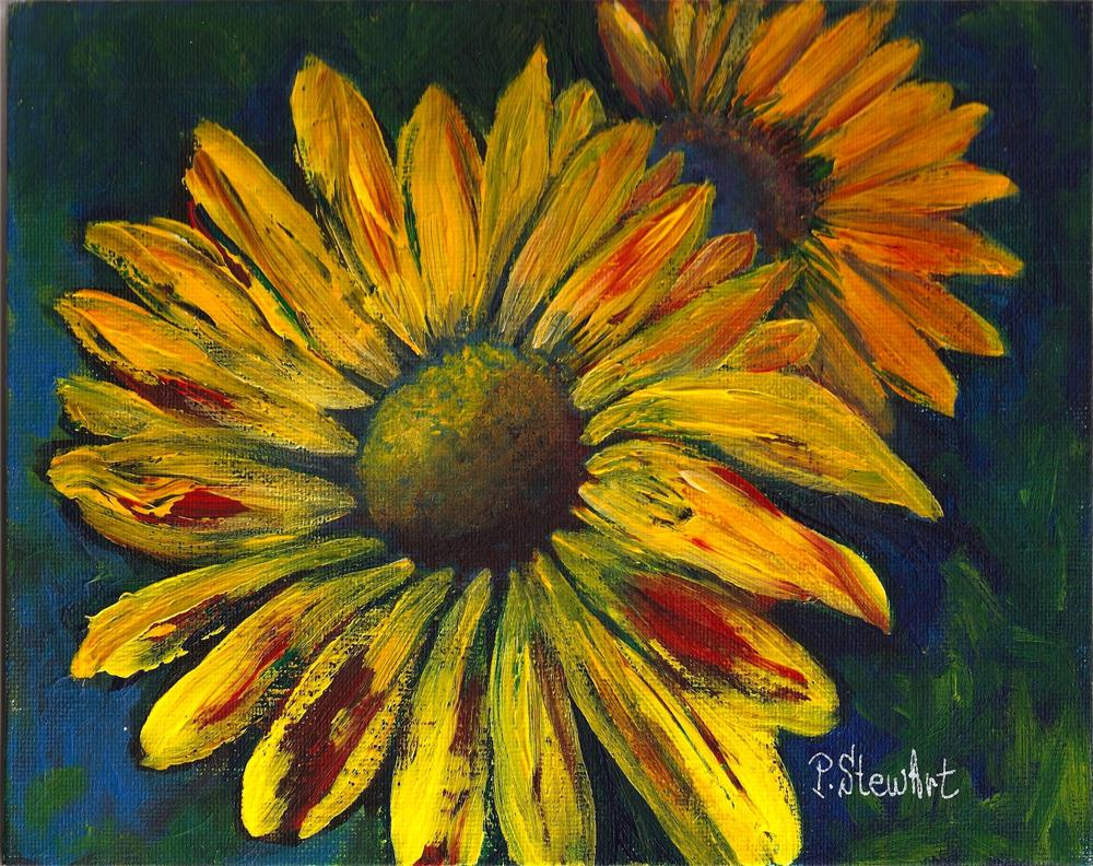 """8x10 Sunflowers Acrylic Painting on Canvas Board, Impasto, Thick Paint"" original fine art by Penny Lee StewArt"